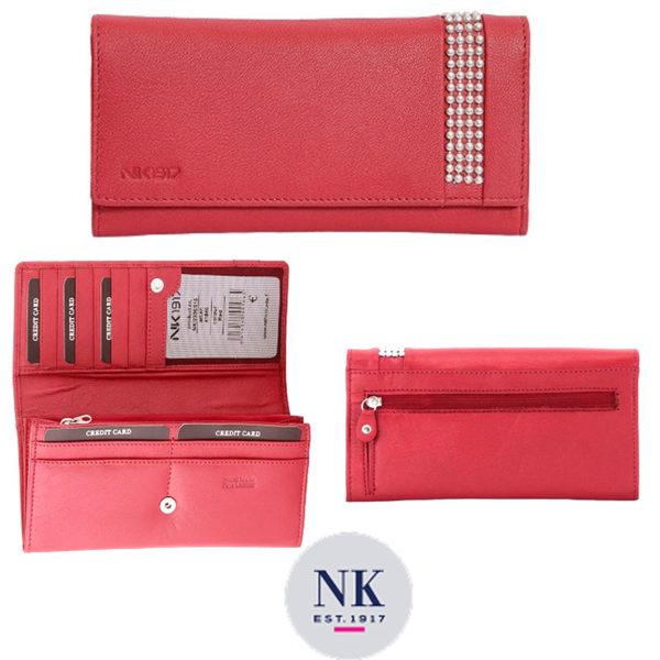 Punainen nahkalompakko, tilaihme jossa monta korttipaikkaa. Rfid-suojattu